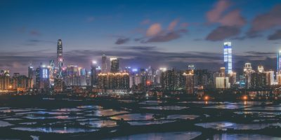Shenzhen, Guangdong, China, Greater Bay Area, night, neon, farm, skyline