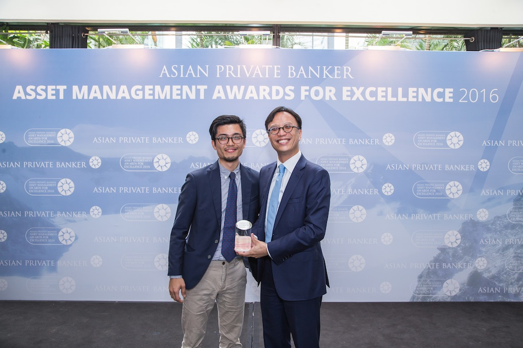 Lawrence Tse from Pictet Asset Management receives the award for Best Fund Provider - Sector Equity