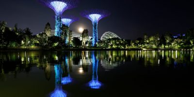 Singapore, night, gardens, light