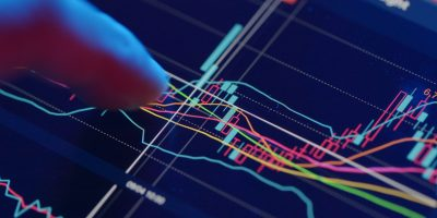 Stock market analysis on digital tablet